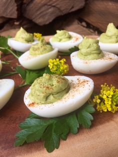 The 28-Day Shrink Your Stomach Challenge Avocado Deviled Eggs: Beth Nydick, the creator of the Blue Barn Kitchen blog, shares her family-friendly avocado deviled eggs recipe.