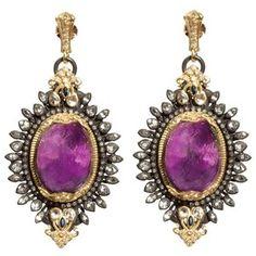Armenta Earrings – Large Oval Purple Sugalite Burst Earrings