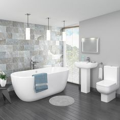 Pro 600 Modern Free Standing Bath Suite The seriously stylish modern Pro 600 bathroom suite, features contemporary elegant styling with a smooth cool white finish. The close coupled toilet only…More Modern Bathroom Design, Bathroom Interior, Bathroom Storage, Bathroom Mirrors, Bath Design, White Bathroom, Bathroom Trends, Bathroom Designs, Bathroom Faucets