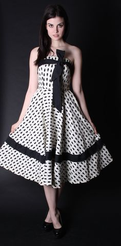ON SALE 50 OFF Vintage 1950s Dress Black and White by aiseirigh