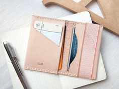 Personalized Card Holder with Elastic Band - Leather - Nude - Hand Stitched