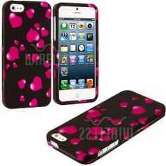Amazon.com: myLife (TM) Hot Pink Heart Sprinkles Series (2 Piece Snap On) Hardshell Plates Case for the iPhone 5/5S (5G) 5th Generation Touc...