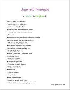 Mother-Daughter Journal Exchange Prompts | Mother to Daughter | www ...