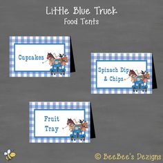 INSTANT DOWNLOAD Little Blue Truck Birthday Food Tents Labels (Buffet Cards)--DIY Printable by BeeBeesDezigns on Etsy https://www.etsy.com/listing/291934289/instant-download-little-blue-truck