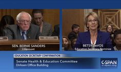 Bernie Sanders asks Donald Trump's education secretary Betsy DeVos if her billionaire family helped her get the job | The Independent