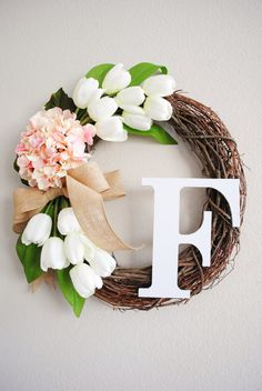 White Tulips & Pale Pink Hydrangea Monogram Grapevine Wreath with Burlap. Spring Summer Wreath. Housewarming, Mother's Day. Wedding Wreath. on Etsy, $57.00