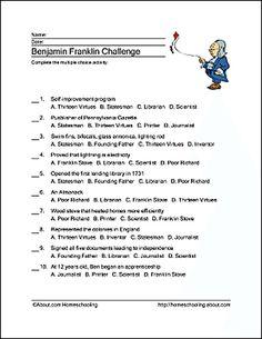 Benjamin Franklin Wordsearch, Crossword Puzzle and More: Benjamin Franklin Challenge