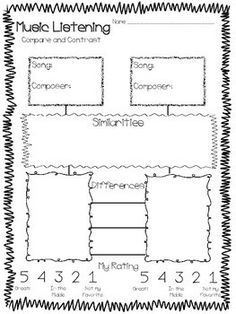 MUSIC LISTENING WORKSHEETS, COMPARE & CONTRAST - TeachersPayTeachers.com