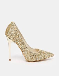 Gold Glitter Heeled Pumps
