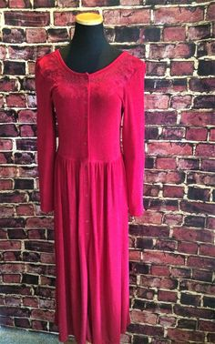 Romantic Sultry Blood Red Long 1990's Dress 8 by CobbWebbTreasures on Etsy