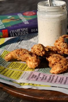 girlichef: Spicy Chicken Strips, Fried Pickles, and Homemade Buttermilk Ranch Dressing inspired by DEADLOCKED (Sookie Stackhouse)