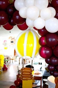 Balloon constructed Hot Air Balloon from a Vintage Travel Themed Birthday Party via Kara's Party Ideas! KarasPartyIdeas.com (24)