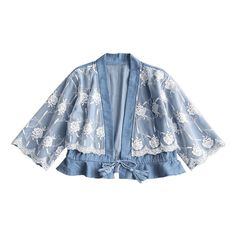 Floral Mesh Panel Ruffles Chambray Blouse (96 PEN) ❤ liked on Polyvore featuring tops, blouses, blue top, flutter blouse, chambray top, flounce blouse and flutter-sleeve tops