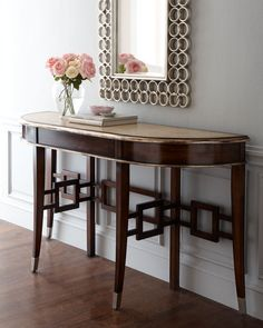 """Horchow """"Marquette"""" Console - home decor (acacia wood, dark walnut finish, dining room furniture)"""