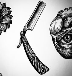 28 Ideas eye tattoo design draw behance for 2019 Kritzelei Tattoo, Blade Tattoo, Knife Tattoo, Tattoo Hals, Tattoo Drawings, Cut Throat Razor Tattoo, Throat Tattoo, Custom Straight Razors, Vintage Straight Razors