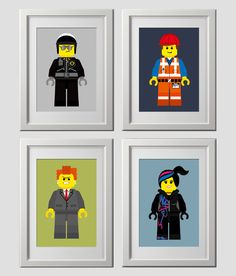 LEGO inspired, lego movie wall art prints, wall decor, lego wall art, lego room, color customized by AmysSimpleDesigns on Etsy