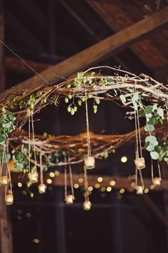 Rustic Branch Chandelier With Hanging Votives