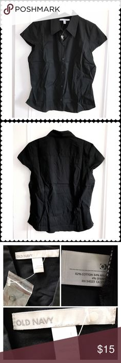 Old Navy black shirt Old Navy black cap sleeve shirt in cotton/nylon/spandex mix. Size L. Just took out of a package hence wrinkled. This is the best summer everyday shirt I ran across and bought tons of them. I wore them a lot but still have several untouched. Size L. Old Navy Tops