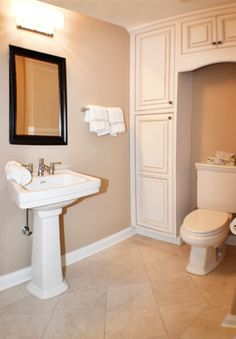Powder Room over toilet storage Design Ideas, Pictures, Remodel and Decor