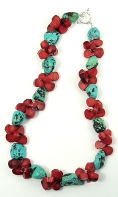 Turquoise and Red Coral Necklace by ClassyGemsByCarol on Etsy, $140.00