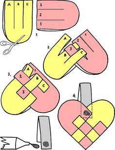 折り紙【デニッシュハート】の作り方  端を丸く切る前に、2枚を最初に織り込むとやりやすい。その後にハートの形になるように端をきると、バランスをとりやすい。