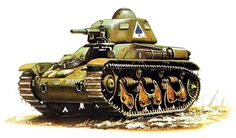French Renault R-35 light tank, Chars Légers (Introduction - 1636; armour - 43 mm; gun - 37 mm L/21 SA18; speed - 20 km/h; produced - 1,540)
