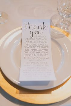 Metallic gold plate with a lovely thank you note from the newlyweds #wedding…