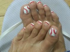 My nail tech did a wonderful job! Go Reds! Baseball Nail Designs, Baseball Nail Art, Softball Nails, Baseball Toes, Baseball Stuff, Reds Baseball, Baseball Equipment, Pedicure Designs, Toe Nail Designs