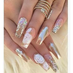 Acrylic nails glitter ❤ liked on Polyvore featuring beauty products, nail care and nail treatments