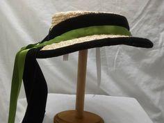 Civil War Era Straw Hat - Hand Sewn by Anna Worden Bauersmith Green Satin, Star Quilts, Plaits, Velvet Ribbon, Vintage Green, Hand Sewn, Black Velvet, Civilization, Hand Carved
