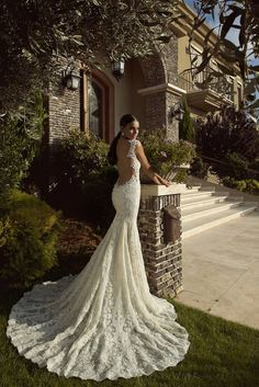 low back lace wedding dress by Galia Lahav