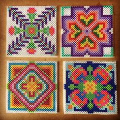 Colorful tiles perler beads by capriciousarts Perler Bead Designs, Easy Perler Bead Patterns, Perler Bead Templates, Pearler Bead Patterns, Cross Stitch Patterns, Cross Stitches, Hama Beads Coasters, Diy Perler Beads, Perler Bead Art