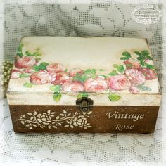 Vintage rose Big Box, sewing box , Box for needlework ,Box for jewelry