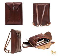 Leather backpack Ludena. Laptop bag, Handmade leather bag.