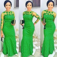 Last Beautiful Rock Green Aso Ebi Lace Styles. Here is green Aso ebi Lace Styles for those who love African Dresses For Women, African Print Dresses, African Attire, African Wear, African Fashion Dresses, African Women, African Prints, Ankara Fashion, African Clothes