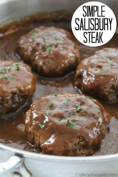 Simple Salisbury Steak - perfect weeknight recipe idea to serve the family. - Simple Salisbury Steak - perfect weeknight recipe idea to serve the family. Simple Salisbury Steak - perfect weeknight recipe idea to serve th. Crock Pot Recipes, Cooking Recipes, Casserole Recipes, Cooking Tips, Budget Cooking, Stove Top Recipes, Cooking Classes, Easy Cooking, Cooking Beef