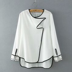 SheIn offers White Round Neck Contrast Trims Dip Hem Blouse & more to fit your fashionable needs. Cute Blouses, Shirt Blouses, Blouses For Women, Trendy Fashion, Fashion Outfits, Color Fashion, Fashion Clothes, Mens Fashion, White Shirts