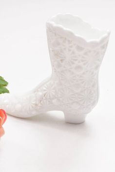 1950s Vintage White Glass Boot from Sweet & Spark! Vintage Costume Jewelry, Vintage Costumes, Vintage Jewelry, New Today, Metal Finishes, Vintage Home Decor, Chinoiserie, Vintage Designs, 1950s