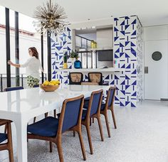 Brazilian Home - blue done right in the kitchen  dining room