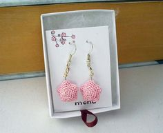 Amigurumi star earrings with miniature pink crochet by mohustore, $12.00