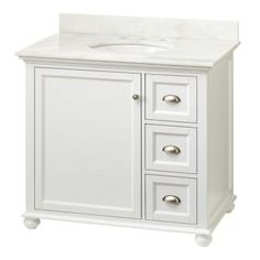 Photo On Home Decorators Collection Lamport in W x in D Bath Vanity in White with Marble Vanity Top in White