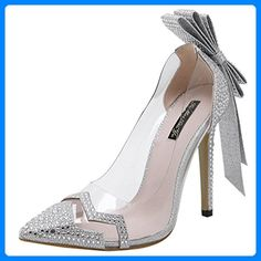 Aisun Damen Cut-out Lack Metallic Transparent Schleifen Slingback Stiletto Pumps Silber 38 EU i4lJ8sKSY
