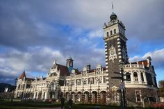 Old railway station in Dunedin, New Zealand 🇳🇿 Travel Memories, San Francisco Ferry, Big Ben, New Zealand, Building, Instagram, Construction, Buildings, Architectural Engineering