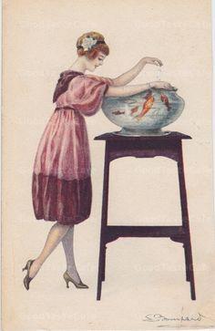 DArt Nouveau Postcard Woman Feeding Her Fish/ S. Bompard Signed c. 1918
