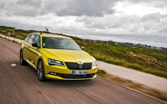 Download wallpapers Skoda Superb Combi SportLine, 4k, 2018 cars, road, yellow Superb, movement, new Superb, Skoda Audi Rs6, Skoda Superb Combi, Yellow Car, Superbat, Car Wallpapers, Cars And Motorcycles, Automobile, Vehicles, Image