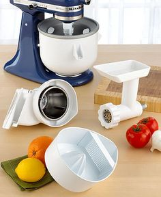 Kitchen aid attachments (pasta maker, meat and wheat grinder and an extra bowl. I have the cheese shredder and love it!
