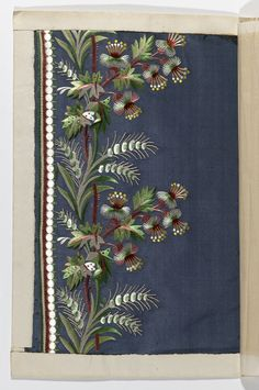 French silk embroidery, 1790-1800 This is the alternative to get those complex borders, embroidery that could be curved around a flared hem.