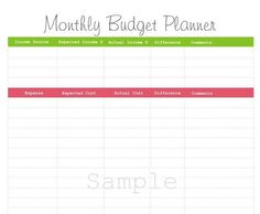 Monthly Budget Planner - PDF Printable.