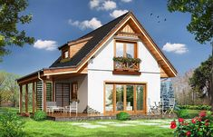 Photo of the project Szarejka House In The Woods, My House, Cute Small Houses, Haus Am Hang, House Construction Plan, Home Building Design, Bungalow House Design, Facade House, Small House Plans