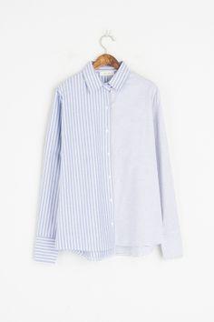 Mixed Stripe Oxford Shirt, Blue, 100% Cotton